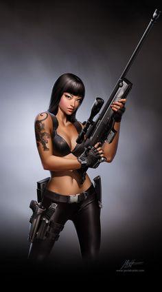 Jurassic Hunter. Sniper Girl. by javieralcalde on deviantART