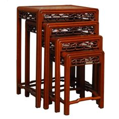 View this item and discover similar for sale at - Distinctive set of four Chinese carved hardwood nesting tables. Featuring an intricately carved frieze of chain links in the shape of Ruyi clouds. Wood Furniture Store, Small Bedroom Furniture, Baker Furniture, Table Furniture, Vintage Furniture, Home Furniture, Furniture Ideas, Nesting End Tables, Hardwood Table