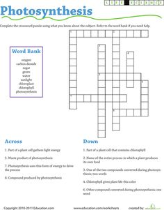 Worksheets: Life Science Crossword: Photosynthesis