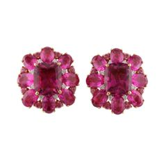 18 Karat Rose Gold Cluster Earrings with Two Cushion Cut Pink Tourmalines