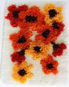 Vintage Latch Hook Completed Wall Hanging Poppies Floral 70s Retro Decor