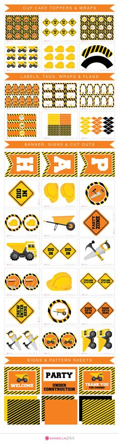 instant download DIY Construction Zone Birthday by GardellaGlobal