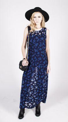 f69a5805d0e Vintage Blue Floral Sleeveless Maxi Dress – Unfaded Era Vintage Dresses