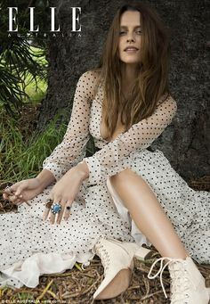 Daring to bare: Teresa Palmer puts on a busty display in plunging polka-dot dress which fe...