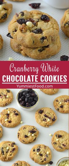 White Chocolate Cookie Recipes, White Chocolate Cranberry Cookies, White Chocolate Chip Cookies, Peanut Butter Cookie Recipe, Cranberry Shortbread Cookies, Snickerdoodle Recipe, Frozen Cookies, Christmas Recipes, Yummy Food