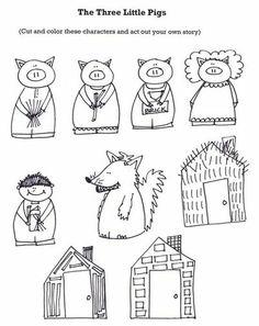 The Three Little Pigs Retelling Stick puppets - a három kismalac pálcika báb Kindergarten Literacy, Literacy Activities, Reading Activities, Fairy Tales Unit, Fairy Tale Theme, Traditional Tales, Traditional Stories, Three Little Pigs, Retelling