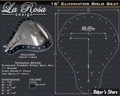 """SELLE SOLO LA ROSA DESIGN - ELIMINATOR - 16"""" - NOIR - Biker's Store"""