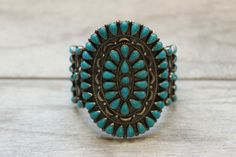 Vintage Native American Zuni Sterling Silver Turquoise Cuff Bracelets Signed #Cuff