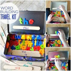 What a great idea for word work for kids working on sight words. It's just a lunchbox, magnetic letters, and craft sticks with magnets.