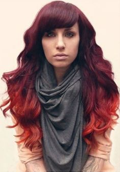 Red ombre...Burgundy to Red to Orange LOVE!!! One of my favorites. Click for more red hair looks.
