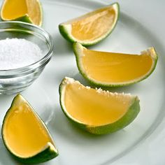 margarita jello shots...in lime peels. perfect for cinco de mayo!