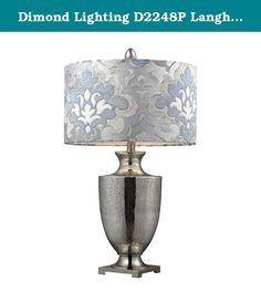 Dimond Lighting D2248P Langham Table Lamp, Antique Mercury Glass and Polished Chrome Finish. Dimond Lighting was founded with commitment to deliver innovative quality products with designer appeal and conscientious value. The Langham Table Lamp has an Antique Mercury Glass with Polished Chrome Finish and Blue Grey Damask shade with White liner. Lamp is 16-Inch wide by 31-Inch tall and takes one 3-way 150-Watt medium base bulb. From inspiration to design, whatever your decor, the boundless...