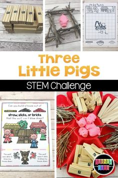 Riveting Construction Activities that Build Learning Preschool Art Projects, Preschool At Home, Preschool Themes, Steam For Preschool, Science Projects, Three Little Pigs Houses, Three Little Pigs Story, 3 Little Pigs Activities, Toddler Activities