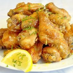 Baked Honey Lemon Glazed Wings - we serve chicken wings as a favorite weekday dinner at our house, often just with a great side salad and these baked and not fried wings are always a hit. They are also ideal for pot lucks or as finger food when you have friends over for the evening.