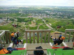 Zip-line off of a ski jump at Canada Olympic Park (C.O.P), Calgary Alberta Canada