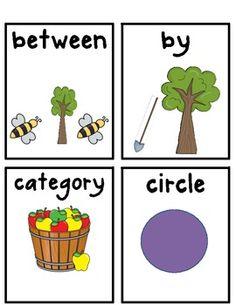 Kindergarten Common Core Math Vocabulary display cards$