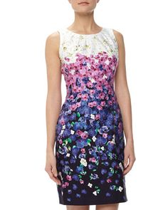 Ombre Floral Print Sheath Dress by Chetta B at Neiman Marcus Last Call.