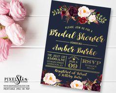 Navy Bridal Shower Invitation, Dark and Chic Gold Foil, Floral Wedding Shower, Couples Shower, Marsala, Burgundy, Eggplant, PRINTABLE by shopPIXELSTIX on Etsy