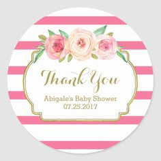 Shop Rose Stripes Pink Floral Baby Shower Favor Tags created by DreamingMindCards. Baby Shower Party Supplies, Baby Shower Favors, Baby Shower Invitations, Bridal Shower, Tags Rosa, Ideas Bautizo, Rosa Vintage, Pop Baby Showers, Fabulous Birthday