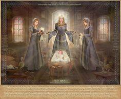 """""""Les Rodzanice. Elles filent le destin des nouveaux nés, elles sont soeurs comme les 3 nornes. Elles visitent les enfants la nuit après leur naissance et déterminent le destin de chacun.  Elles personnifient le destin des étoiles et chaque étoile est une nouvelle vie que Rod, efface à la mort. Ils ont un culte adoré depuis la nuit des temps chez les Slaves  Il existe un rituel particulier qui est célébré pour la naissance d'un enfant.""""  Extrait du livre """"Les Slaves et le Paganisme"""""""