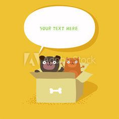 Cute cat and dog sitting in cardboard box, banner with speech bubble. Homeless cat and dog. Vector colorful illustration isolated on yellow.
