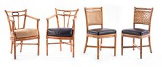 """Selkirk Auctioneers  FOUR RATTAN CHAIRS.  By McGuire. Two side chairs and two armchairs. 34""""h.  Estimate $ 300-600"""