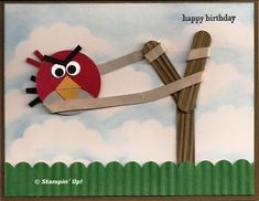 Punch art: angry bird about to be launched via sling shot...too funny!!!