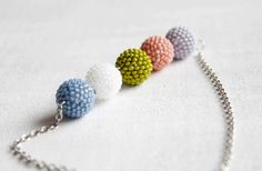 Summer Pastel Multicolored Necklace Peach Pink Light Blue Lilac Lime Green White Beaded Beads