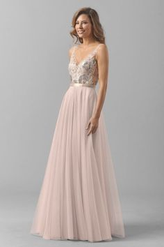 Pretty blush Watters bridesmaid dress: http://www.stylemepretty.com/2016/02/22/taylor-swift-maid-of-honor-dress-britany-maack/