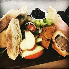 Our very own ploughman's with homemade pickle and chutneys, with pork pie.