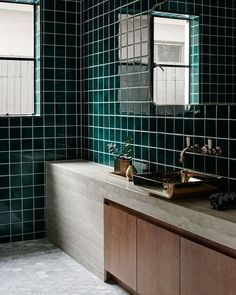 """839 Likes, 12 Comments - est (@est_living) on Instagram: """"INSPIRATION: Deep emerald hues lend a dramatic tone to this bathroom in the Brighton House by…"""""""