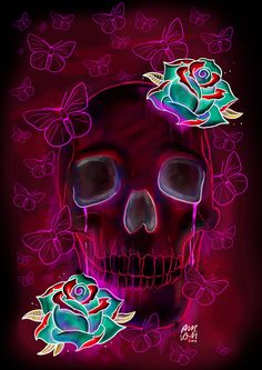 Skull and Roses by Phil Wall Art