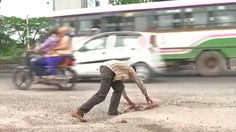 12-year-old Indian boy fills potholes to keep other children safe