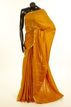 Mysore Crepe- crepe mustard brown saree with blouse