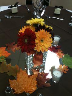 Fall gerber daisy wedding. Lake Natoma Inn Folsom. Crystal Rose Florist Folsom CA