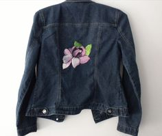 Hand Painted One of a Kind Up-cycled  Women's Baccini Denim Jacket Size S #Baccini #JeanJacket