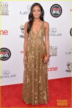 Naomie Harris walks the red carpet at the 2014 NAACP Image Awards held at the Pasadena Civic Auditorium on Saturday evening (February 22) in Pasadena, Calif.