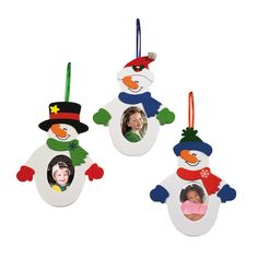 Snowman Photo Frame Ornament Craft Kit piece)/Self-ad. Picture Frame Ornaments, Photo Christmas Ornaments, Christmas Arts And Crafts, Xmas Crafts, Christmas Photos, Kids Christmas, Snowman Photos, Snowmen Pictures, Ornament Crafts
