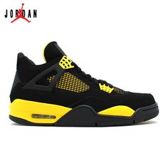 2d544abc1e685e 308497-008 Air Jordan 4 Retro Thunder Black White-Tour Yellow