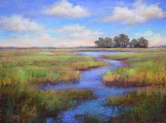 Karen Margulis, pastel, blue sky marsh
