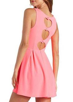 Sweet Cutout Pattern Round Neck Pink Tank Dress |