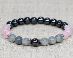 Unisex bracelet Labradorite bracelet Rose quartz jewelry Gemstone bracelet Reiki healing bracelet Stretch bracelet Birthday gift-for-friend