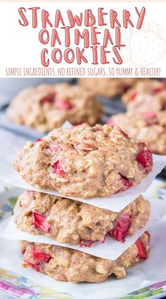 These Strawberry Oatmeal Cookies are soft, chewy, packed with fresh strawberries, crunchy walnuts, and incredible flavors. Wholesome, easy to make and without refined sugars. Perfect healthy breakfast, low-calorie snack, or quick dessert. ------ #strawberries #strawberrycookies #strawberry #cookies #cookielove #cookierecipe #healthycookies #healthyrecipe #healthyfood #snack #healthysnack #oatmealcookies #recipes #breakfast #breakfastideas #dessert