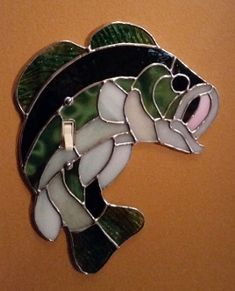 Large Mouth Bass stained glass light switch plate. Fish looks like it is…