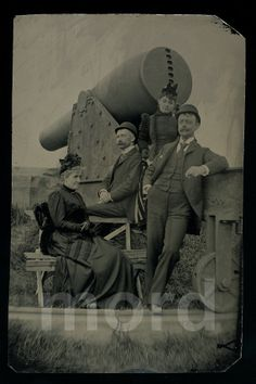 """RESERVED / Do Not Buy // Rare 7"""" Tintype Group Photo with Large Military Cannon // Statue of Liberty Island"""