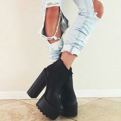 Untitled #zapatos -  #mode,  #boots,  jeans -  black