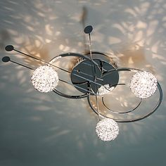 30W Artistic Modern Flush Mount with 3 Lights and 3 Spring Globe Shades in Violin Feature – USD $ 159.99