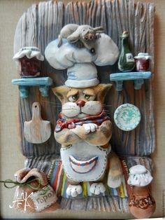 Купить Секретный ингридиент. Панно - рыжий, кот, мышь, повар, кухня, панно на кухню, Керамика