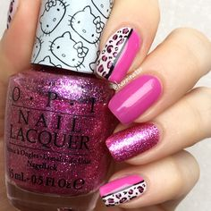 Leopard nails with polishes from the Hello Kitty collection