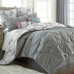 Refresh your master suite or guest room with this cozy 8-piece comforter set, showcasing 2 standard shams, 2 euro shams, a bedskirt, and 2 decorative pillows...